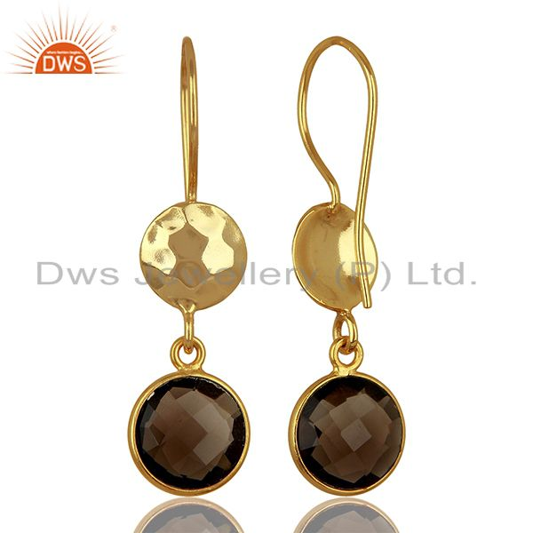 Suppliers Smoky Quartz Gemstone Gold Plated Sterling Silver Earrings Wholesale