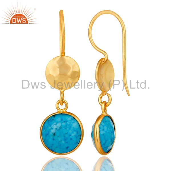Designers Turquoise Bezel Set Gemstone Dangle Earrings In 18K Gold Plated Sterling Silver