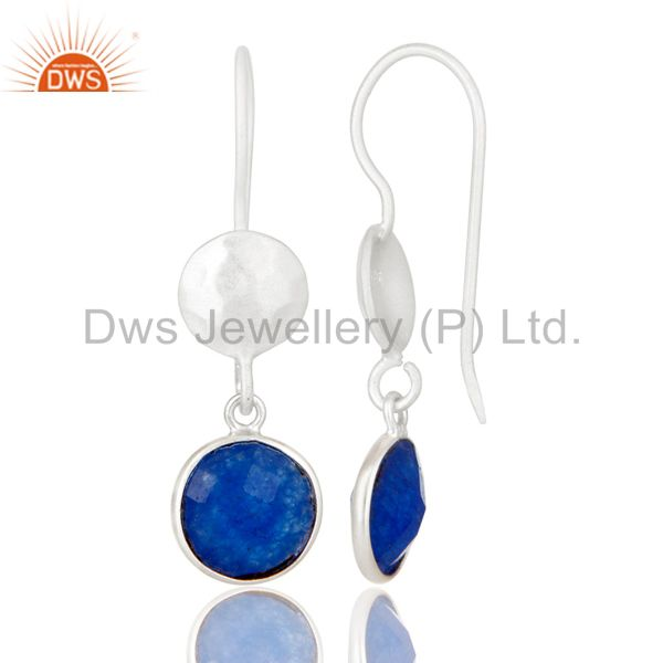 Designers Handmade Sterling Silver Blue Aventurine Gemstone Bezel Dangle Earrings