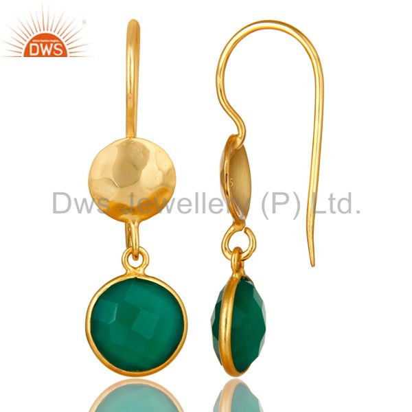 Designers 22K Yellow Gold Plated Silver Green Onyx Hammered Disc Dangle Earrings