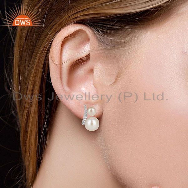 Suppliers Solid 925 Sterling Silver Handmade Pearl & White Topaz Studs Earrings Jewelry