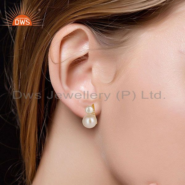 Suppliers 14K Yellow Gold Plated 925 Sterling Silver Pearl & White Topaz Studs Earrings