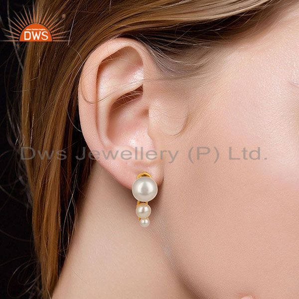 Suppliers 14K Yellow Gold Plated 925 Sterling Silver Handmade Pearl Beads Drops Earrings