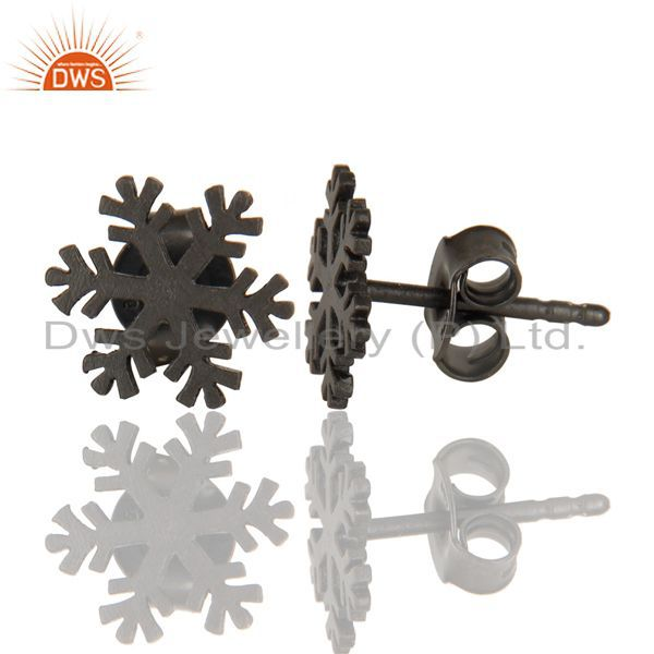 Suppliers Black Oxidized 925 Sterling Silver Handmade Beautiful Design Studs Earrings