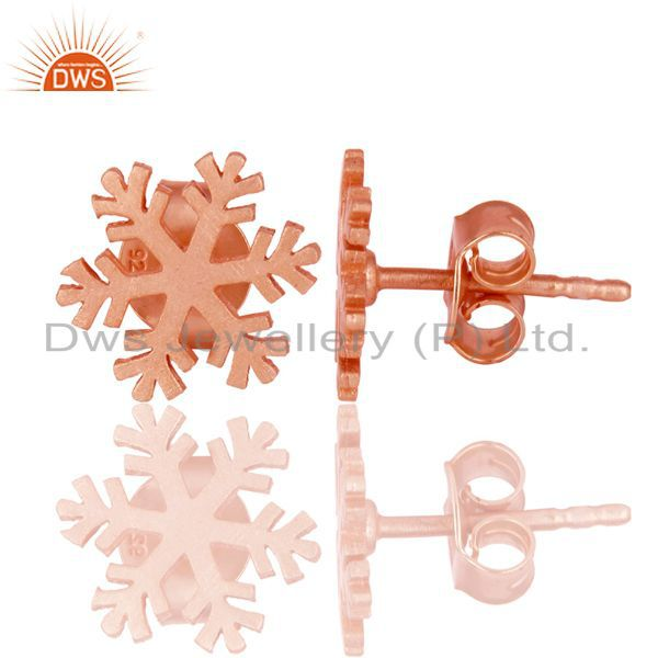Suppliers 14K Rose Gold Plated Sterling Silver Handmade Beautiful Design Studs Earrings