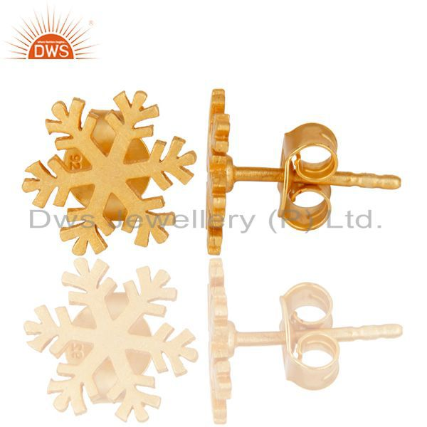 Suppliers 14K Gold Plated 925 Sterling Silver Handmade Beautiful Design Studs Earrings