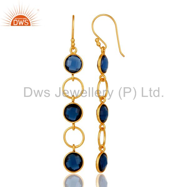 Designers Blue Corundum and 18K Gold Plated Sterling Silver Circle Dangler Earring