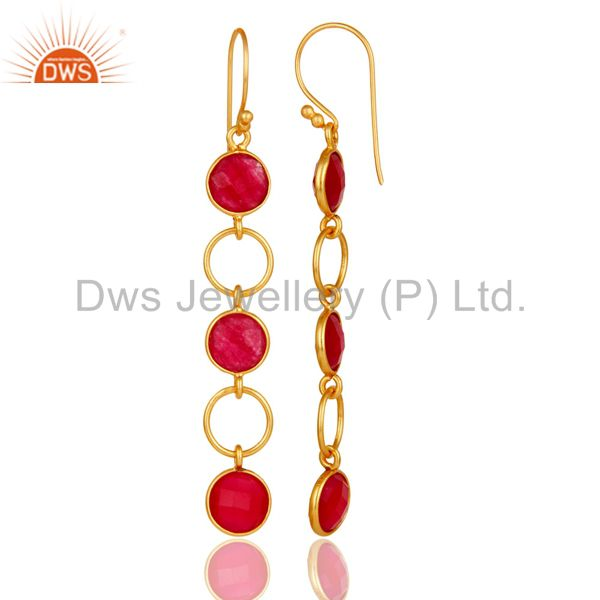 Designers Natural Aventurine and 18K Gold Plated Sterling Silver Circle Dangler Earring