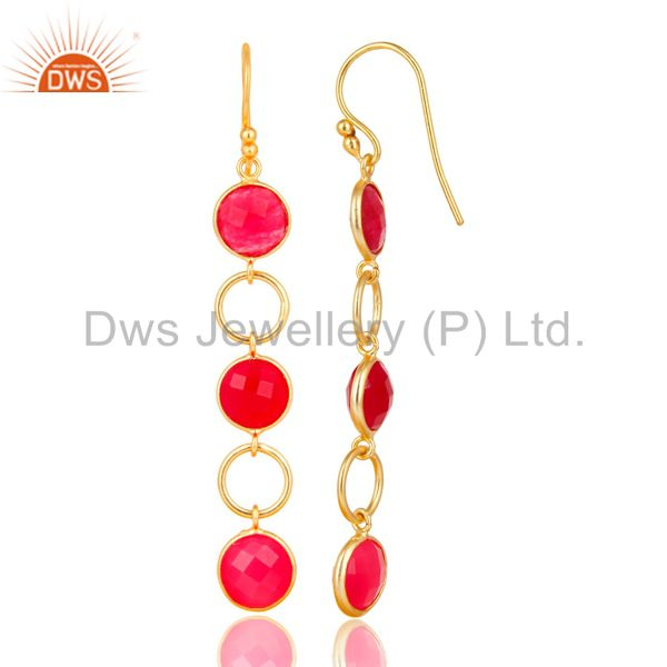 Designers Dyed Chalcedony 18K Gold Plated 925 Sterling Silver Circle Dangler Earrings