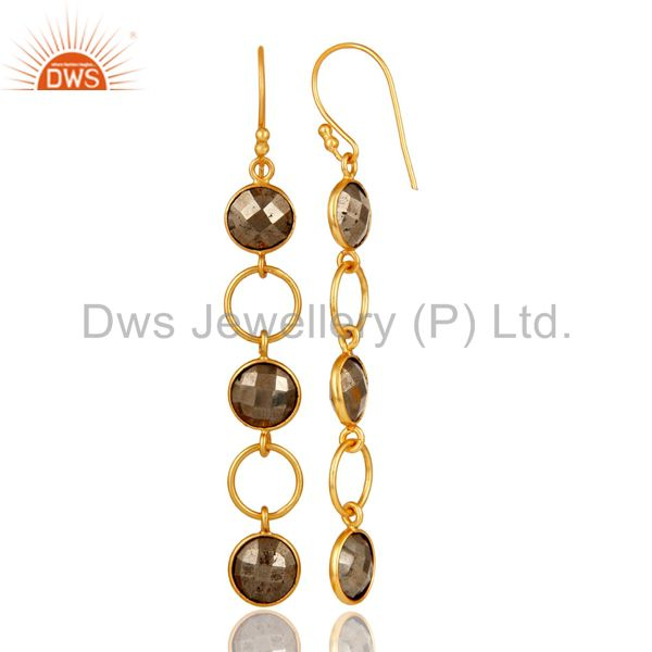 Designers Pyrite and 18K Gold Plated Sterling Silver Circle Dangler Earring
