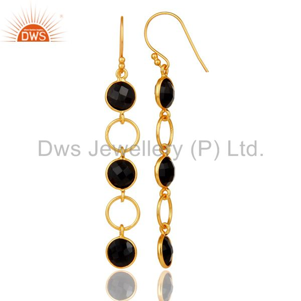 Designers Black Onyx and 18K Gold Plated Sterling Silver Circle Dangler Earring