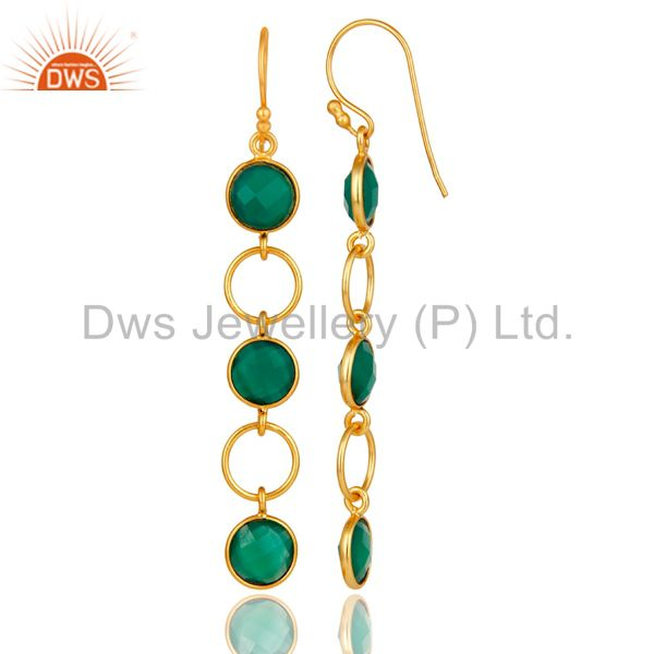Designers Green Onyx and 18K Gold Plated Sterling Silver Circle Dangler Earring