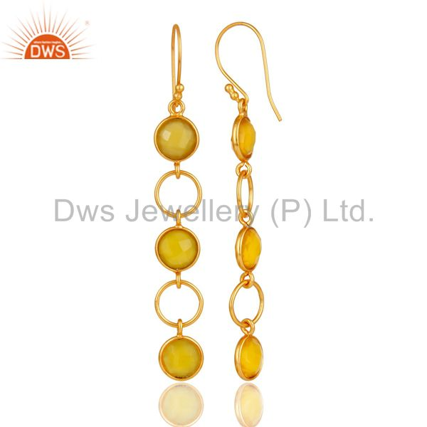 Designers Yellow Chalcedony and 18K Gold Plated Sterling Silver Circle Dangler Earring