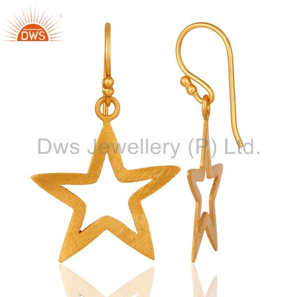 Designers 18K Yellow Gold Over Sterling Silver Star Design Womens Dangle Earrings