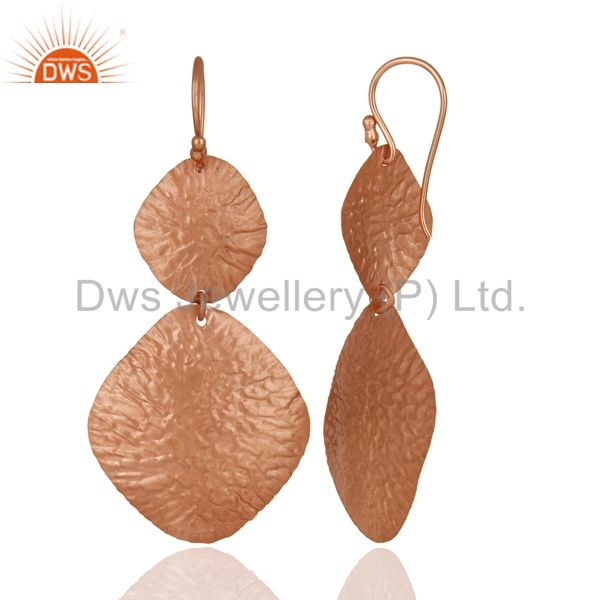 Designers 18K Rose Gold Over Sterling Silver Dangling Flake Drop Earrings