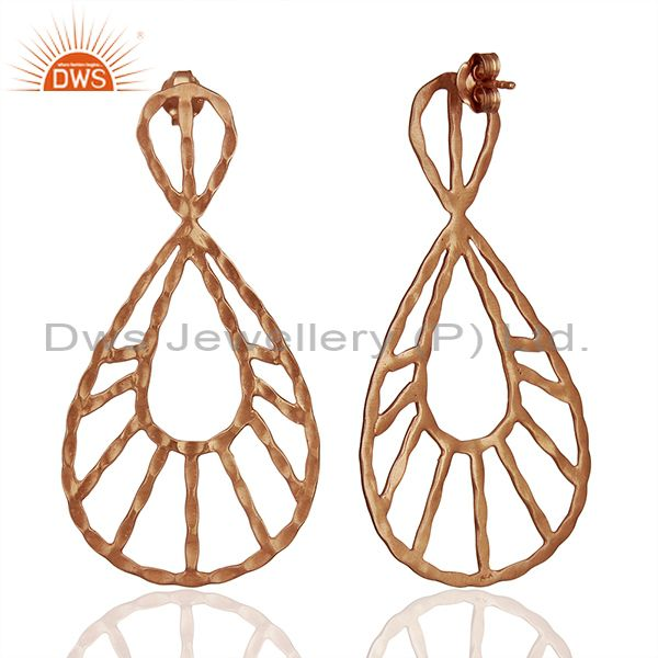 Suppliers 18K Rose Gold Plated Sterling Silver Hammered Designer Drop Dangle Earrings