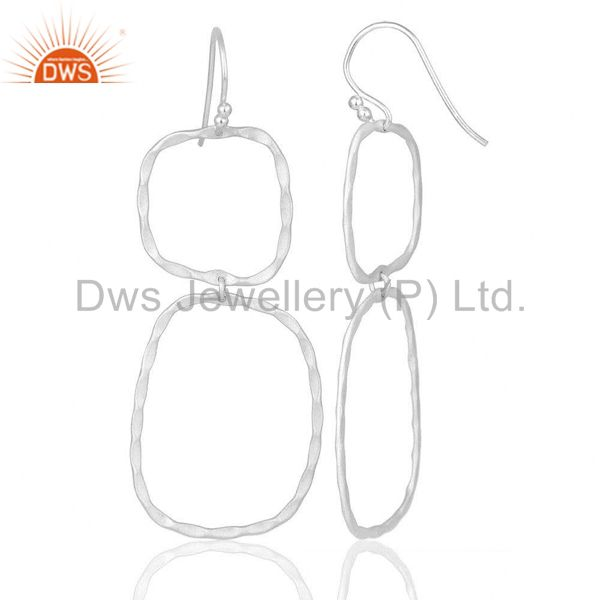 Designers Solid Sterling Silver Hammered Open Double Circle Dangle Earrings