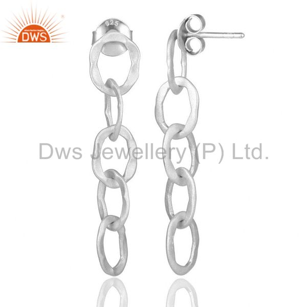 Designers Solid Sterling Silver Hammered Link Chain Dangle Earrings