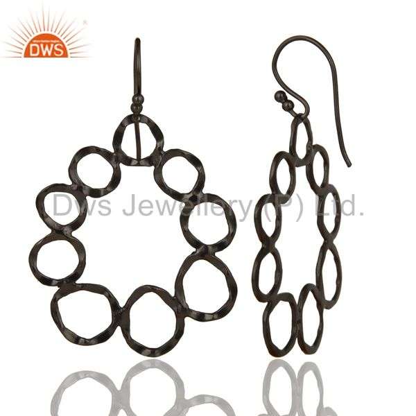 Designers Handmade Solid Sterling Silver With Oxidized Hammered Circle Dangle Earrings