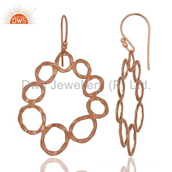 Designers Handmade Solid Sterling Silver Rose Gold Plated Hammered Circle Dangle Earrings
