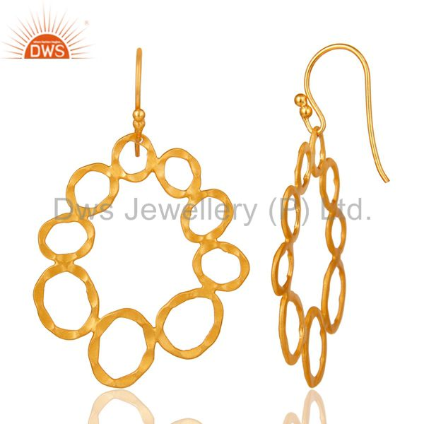 Designers 24K Yellow Gold Plated Sterling Silver Hammered Multi Circle Dangle Earrings