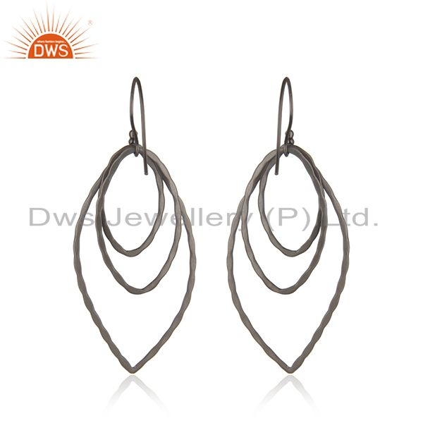 Suppliers Handmade Sterling Silver Oxidized Brushed Finish Multi Circle Dangle Earrings
