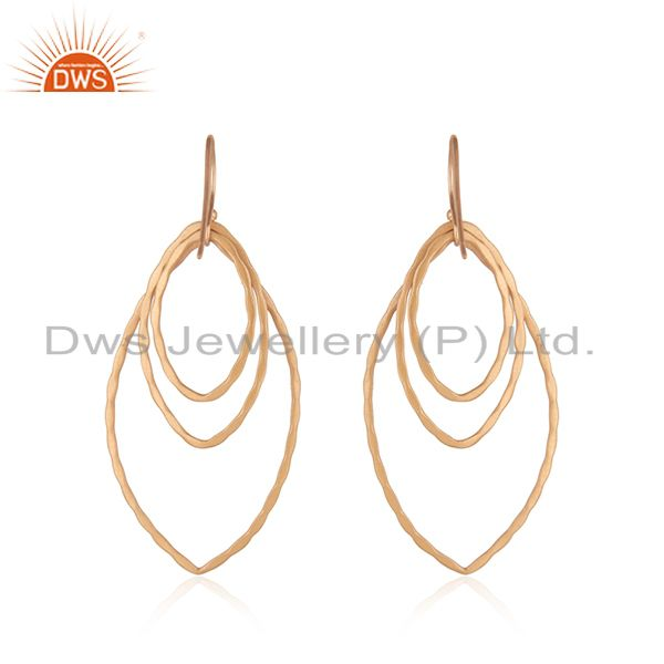 Suppliers 18K Rose Gold Plated Sterling Silver Hammered Open Marquise Dangle Earrings