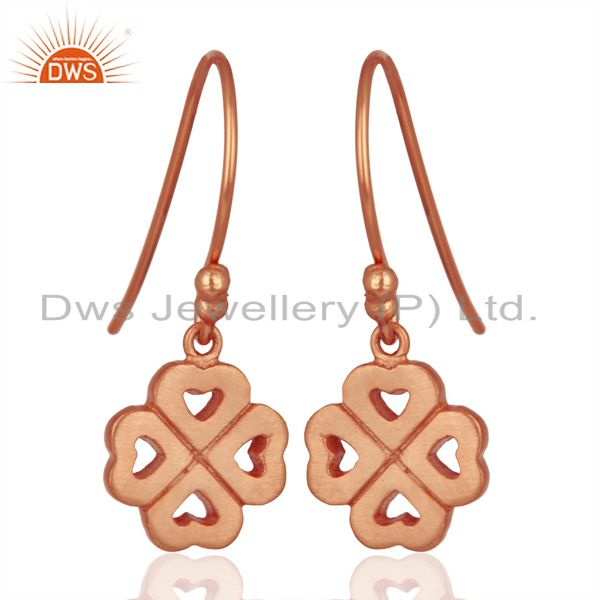 Suppliers 18K Rose Gold Plated Sterling Silver Four Heart Design Dangle Earrings