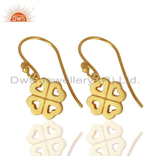 Suppliers 18K Yellow Gold Plated Sterling Silver Four Heart Design Dangle Earrings