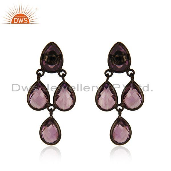 Suppliers Amethyst Gemstone Black Rhodium Plated 925 Silver Earring Manufacturer Jaipur