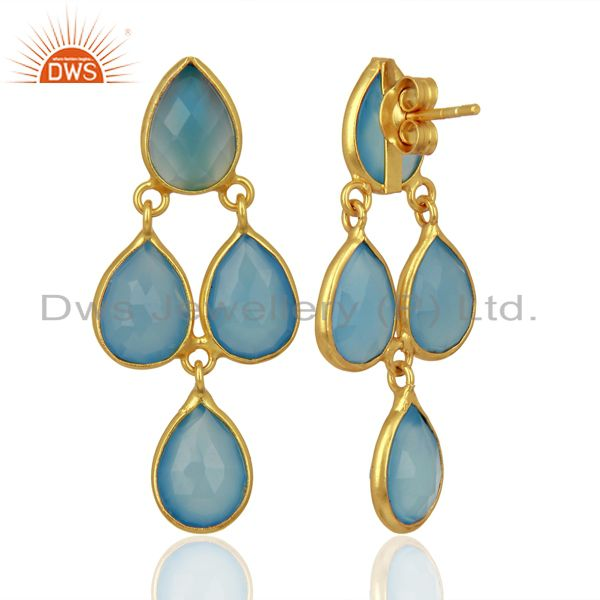 Suppliers Blue Chalcedony Drop 18K Gold Plated 925 Sterling Silver Earrings Jewelry