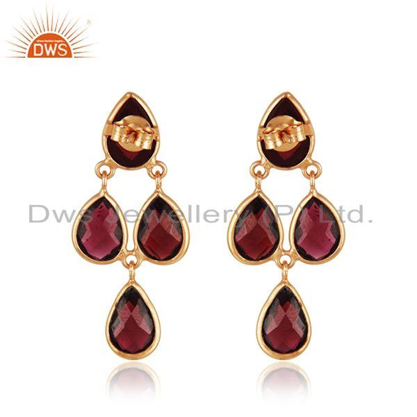 Suppliers Garnet Gemstone Gold Plated 925 Silver Earring Wholesaler India