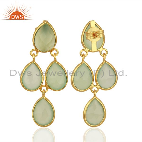 Suppliers Prehnite Chalcedony Gemstone Gold Plated Silver Earrings Jewelry