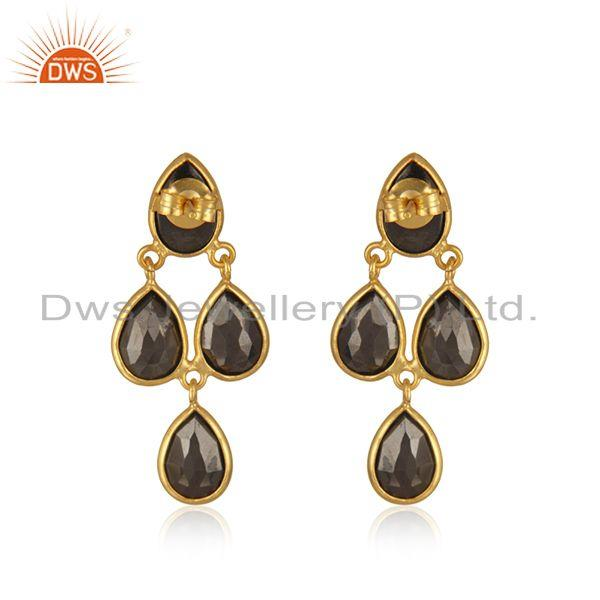 Suppliers Hematite Gemstone Gold Plated 925 Silver Earring Manufacturer in India