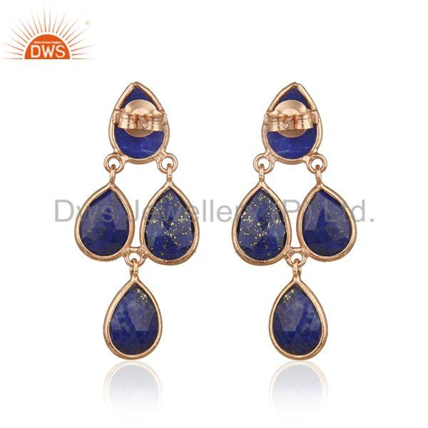 Suppliers Lapis Lazuli Gemstone Rose Gold Plated Sterling Silver Earrings Manufacturer