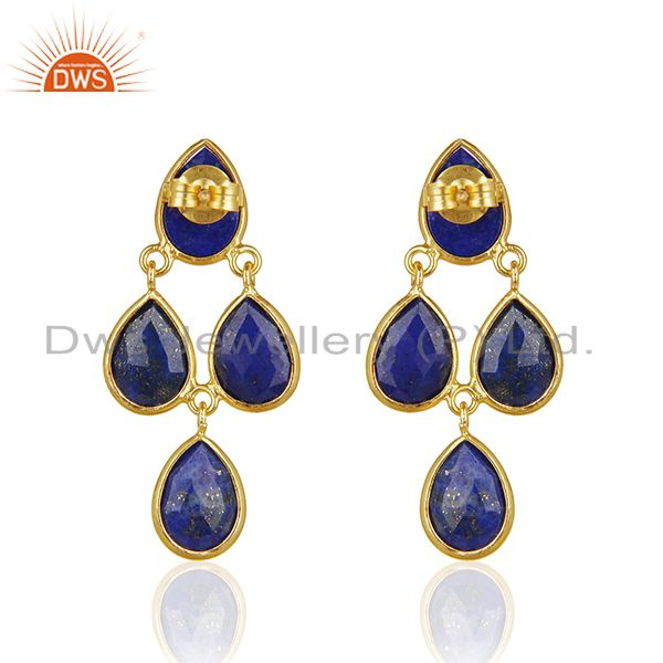 Suppliers Lapis Lazuli Dangle 18K Gold Plated 925 Sterling Silver Earrings Jewelry