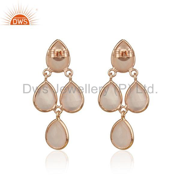 Suppliers Rose Gold Plated 925 Silver Rose Chalcedony Gemstone Handmade Earring Supplier