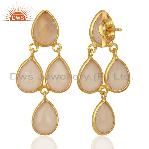 Suppliers Rose Chalcedony Dangle 18K Gold Plated 925 Sterling Silver Earrings Jewelry