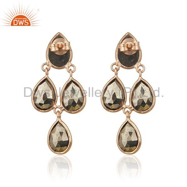 Suppliers 14k Rose Gold Sterling Silver Pyrite Gemstone Designer Earring Wholesale