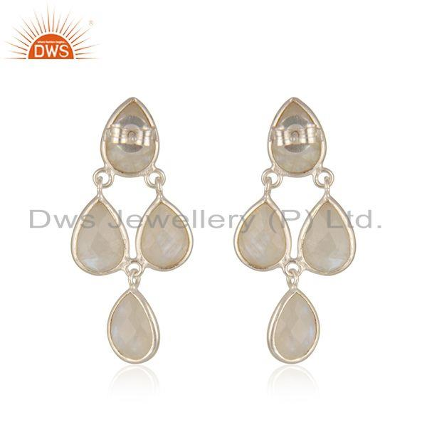 Suppliers Rainbow Moonstone Fine Sterling Silver Earring Manufacturer in India