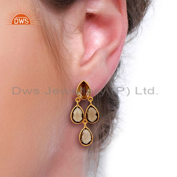 Suppliers Smoky Quartz Drop 18K Yellow Gold Plated 925 Sterling Silver Earrings Jewelry