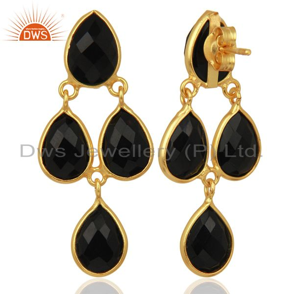 Suppliers Black Onyx Gemstone Teardrop Sterling Silver Rose Gold Plated Chandelier Earring