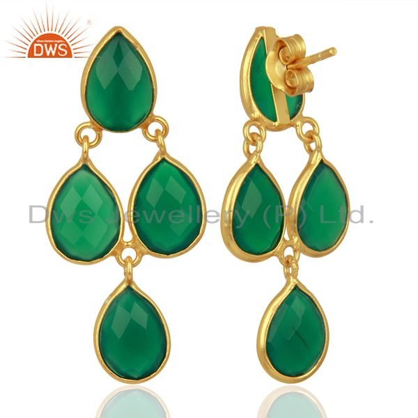Suppliers Green Onyx Dangle 18K Gold Plated 925 Sterling Silver Earrings Jewelry