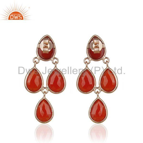 Suppliers Red Onyx Gemstone Rose Gold Plated 925 Silver Drop Earrings Manufacturer