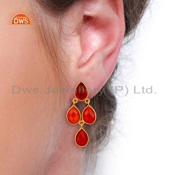Suppliers Red Onyx Dangle 18K Gold Plated 925 Sterling Silver Earrings Jewelry