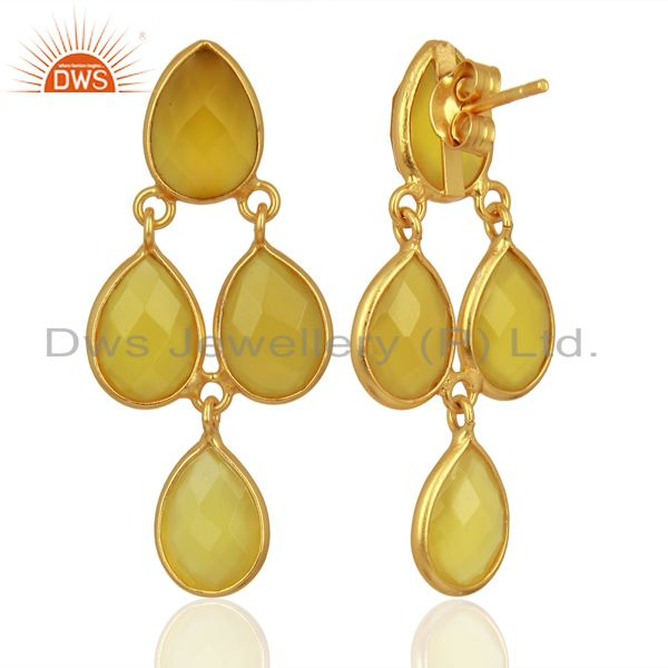 Suppliers Yellow Chalcedony Dangle 18K Gold Plated 925 Sterling Silver Earrings Jewelry