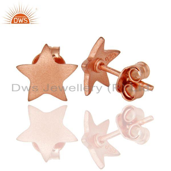 Suppliers Star Shaped 925 Sterling Silver Rose Gold Plated Stud Earrings Jewelry