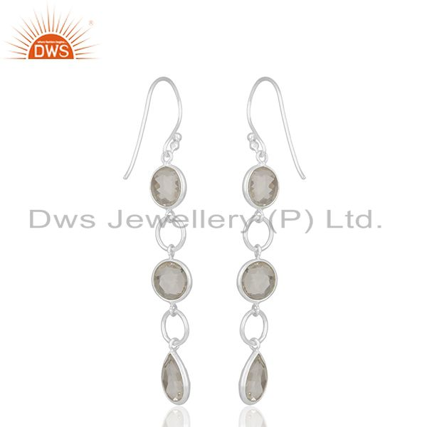 Suppliers Solid 92.5 Sterling Silver Crystal Quartz Dangle Earring Manufacturers