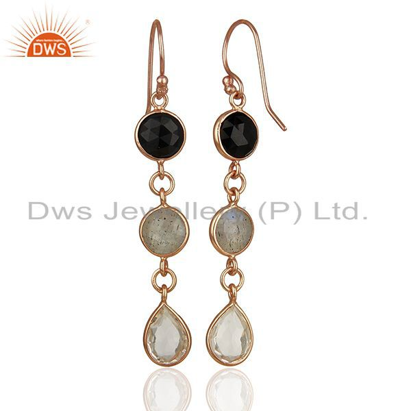Suppliers 18K Rose Gold Plated Silver Crystal Quartz And Labradorite Dangle Earrings