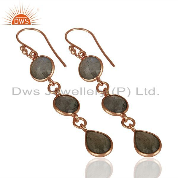 Suppliers 18K Rose Gold Plated Sterling Silver Labradorite Circle Dangle Earrings